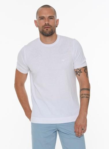 Beymen Business 4B4820200027 Lacivert Slim Fit Triko Kısa Kol Beyaz